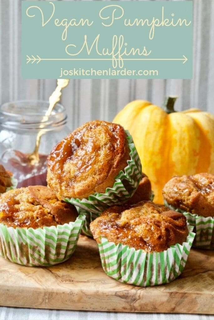 Vegan pumpkin muffins on a board, Pinterest image.