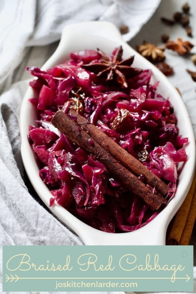 Portion of braised red cabbage in a dish.