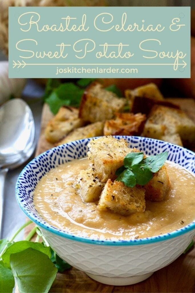 Small bowl of celeriac and sweet potato soup.