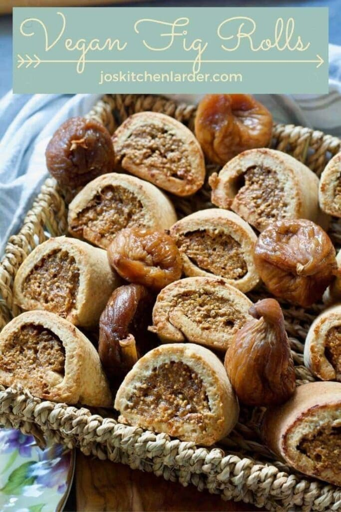Fig rolls with dried figs in a basket pin.
