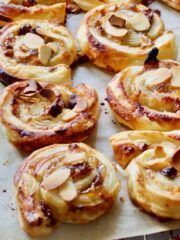 Baked swirls on a tray (square).