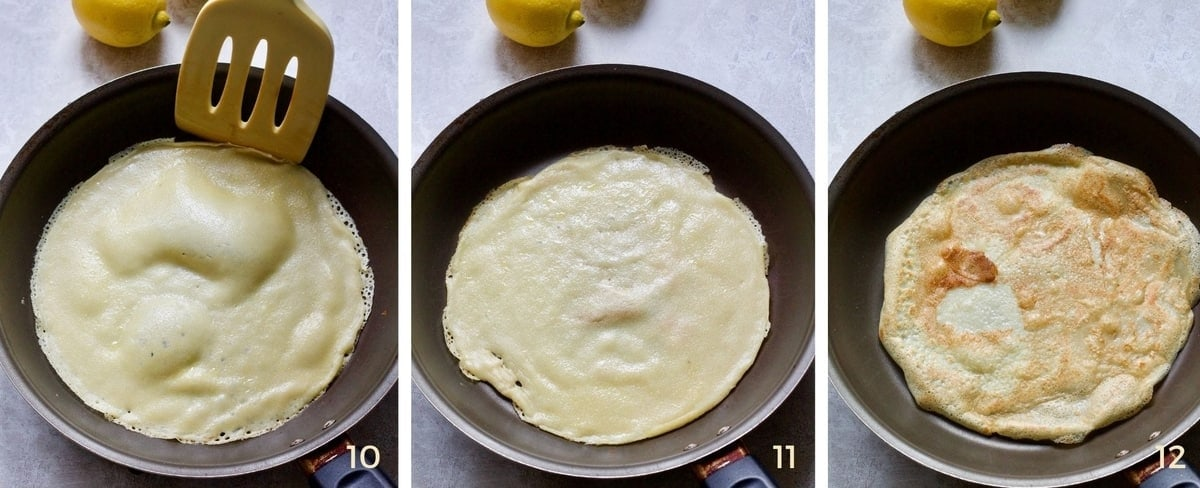 Pancake frying on the other side.
