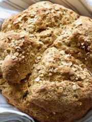 Close up of baked vegan soda bread loaf.