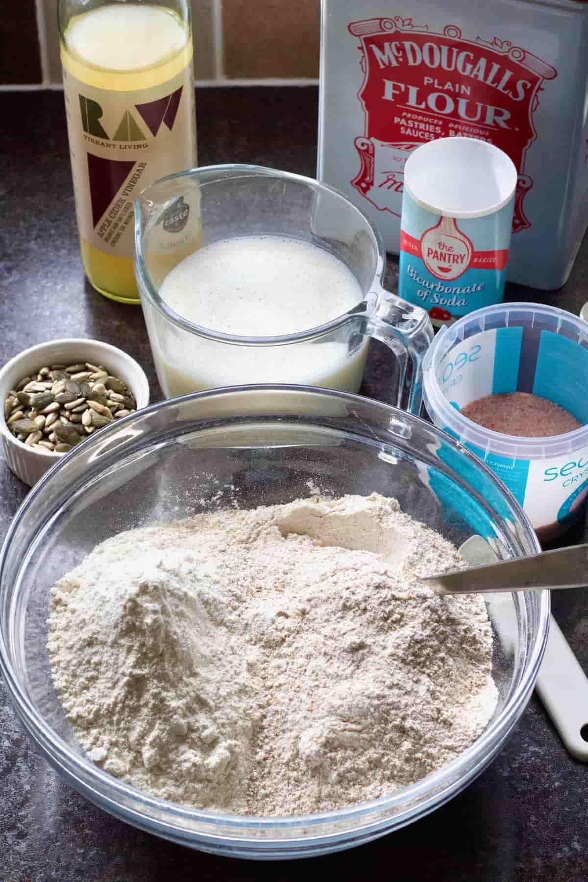 Ingredients for baking vegan soda bread.