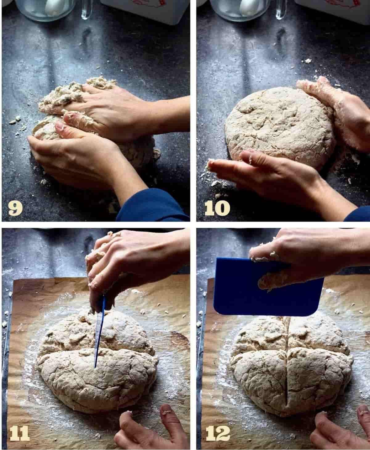 Forming a bread loaf and making a cross in the middle.