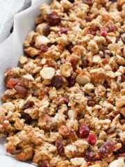 Baked homemade granola in a tray.