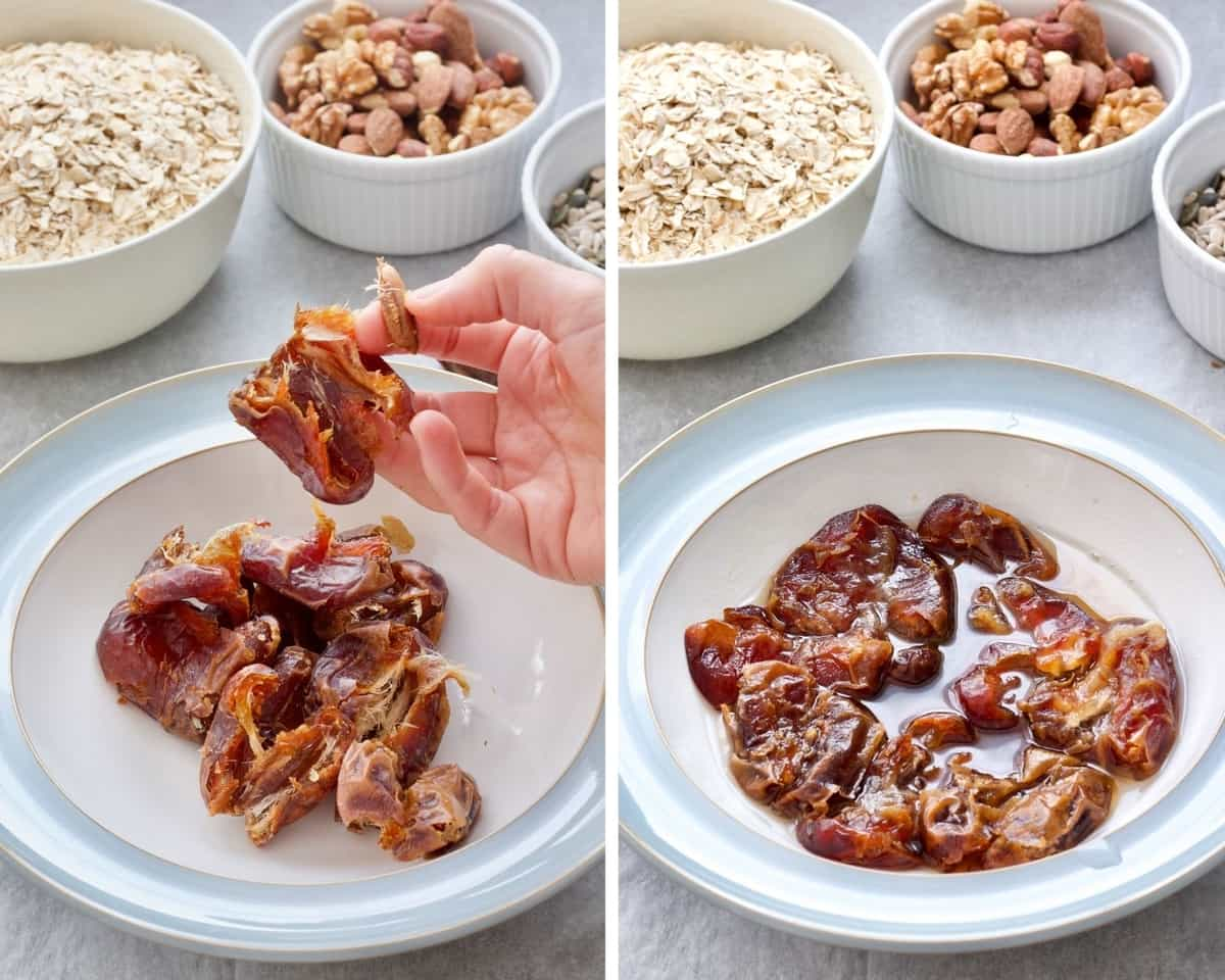Hand taking stones out of dates and dates soaking.