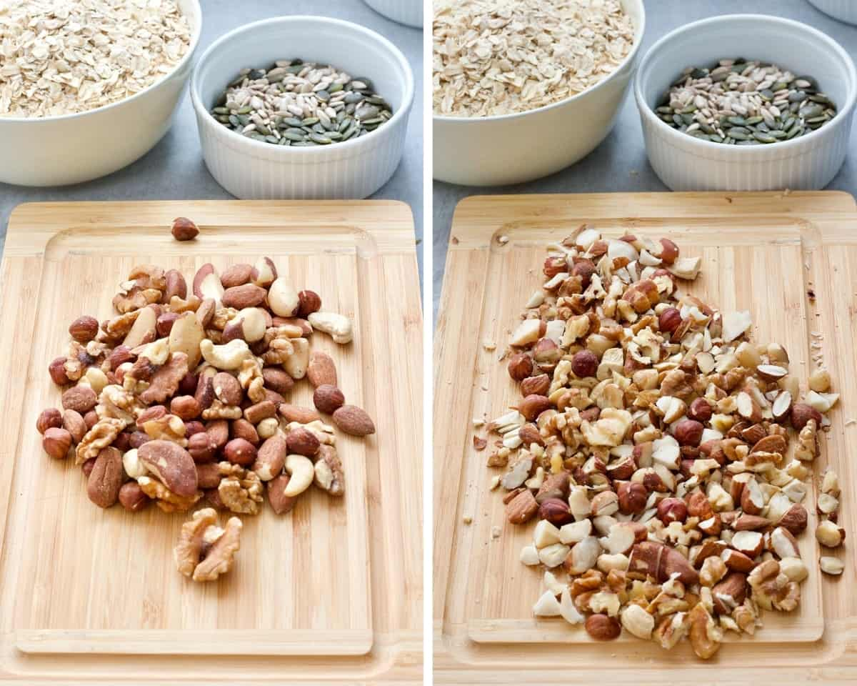 Mixed nuts on the board pre and post chopping.