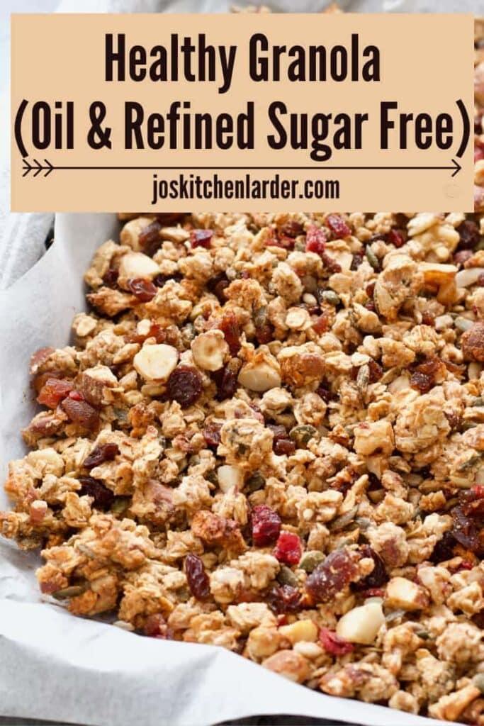 Homemade granola in a tray.