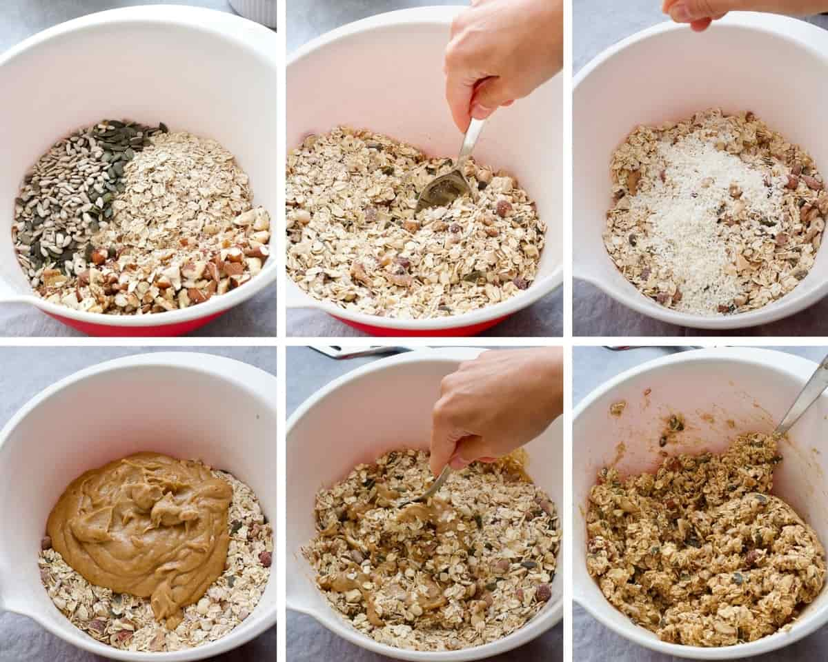 Preparing granola step by step.