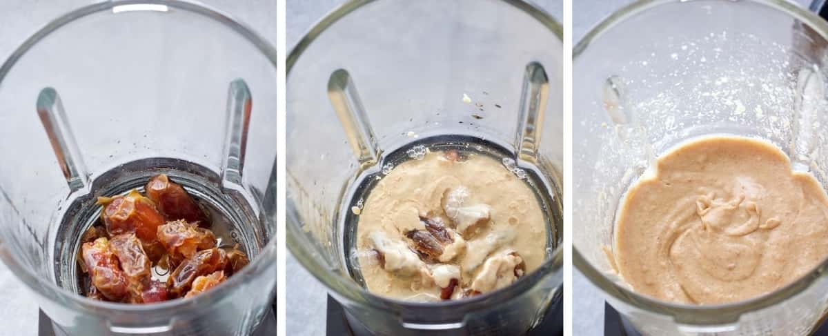 Dates and tahini in a blender.