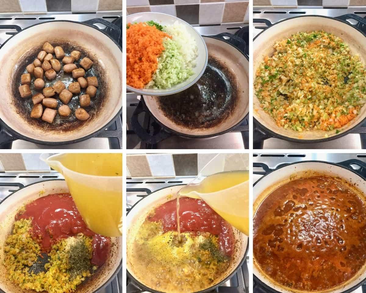 Sauteeing sausages & veggies, preparing the sauce.