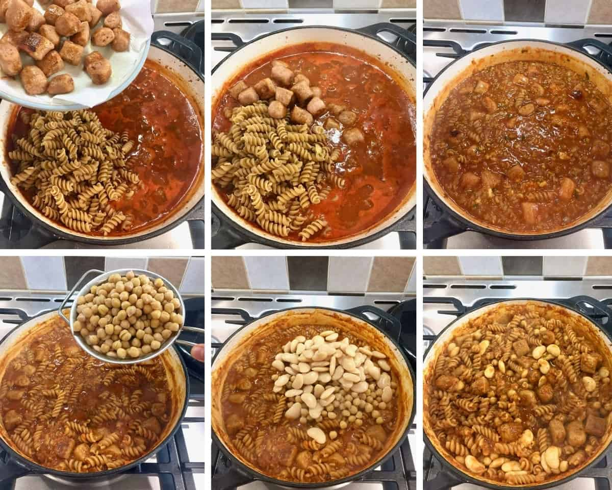 Adding pasta, sausages, beans & simmering until cooked.