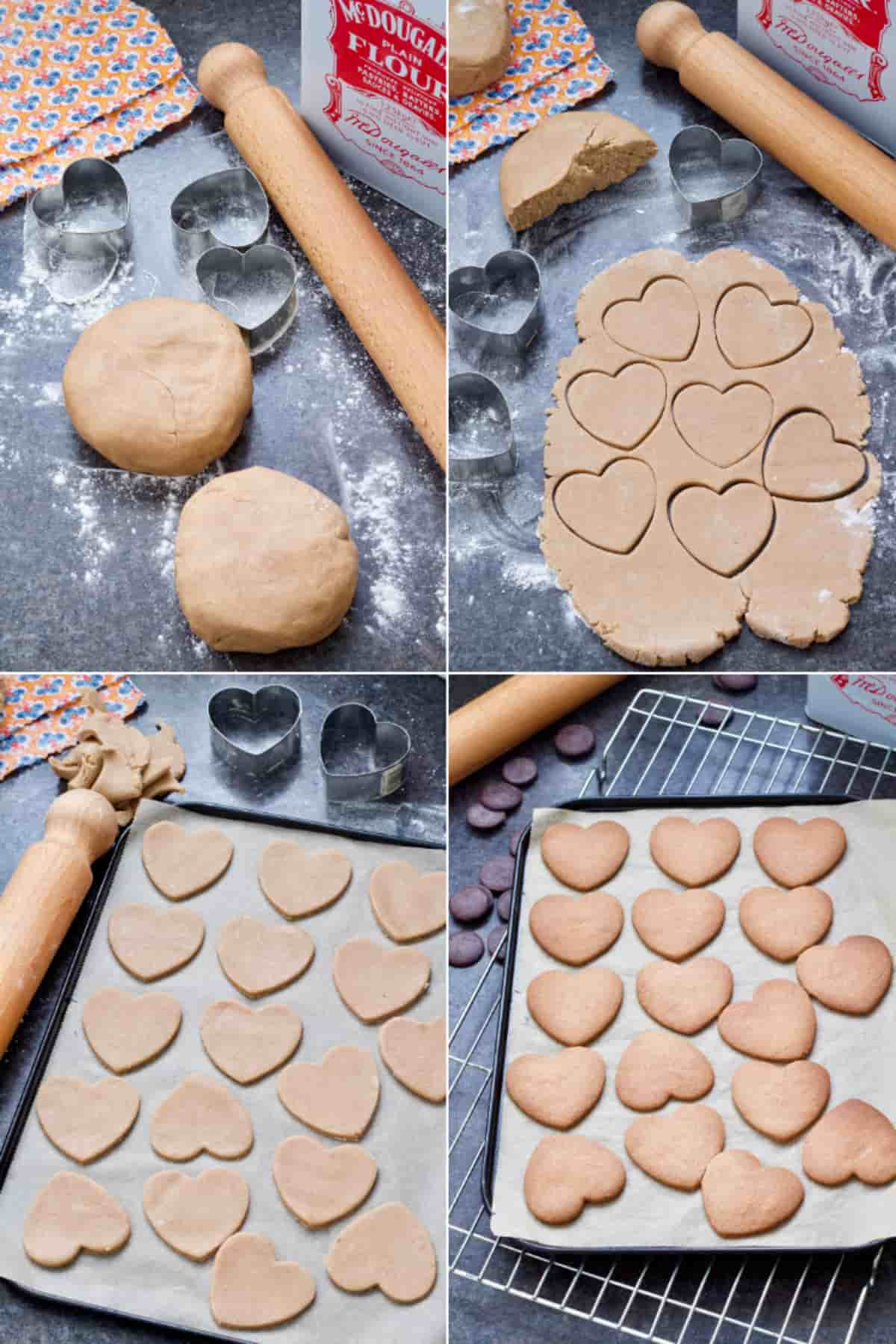 Rolling out cookie dough and cutting out heart shapes.