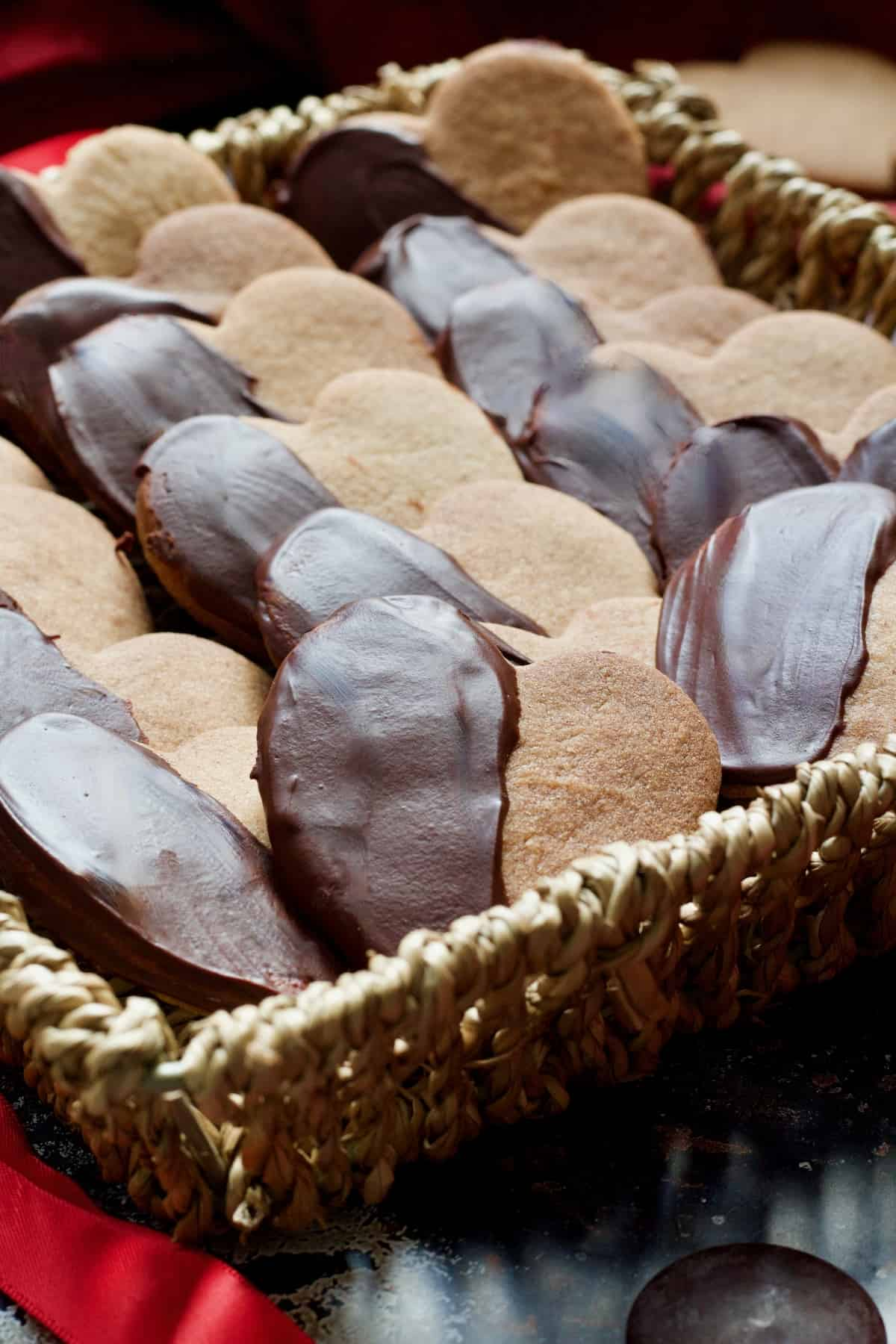 Close up of cinnamon cookies in a basket.