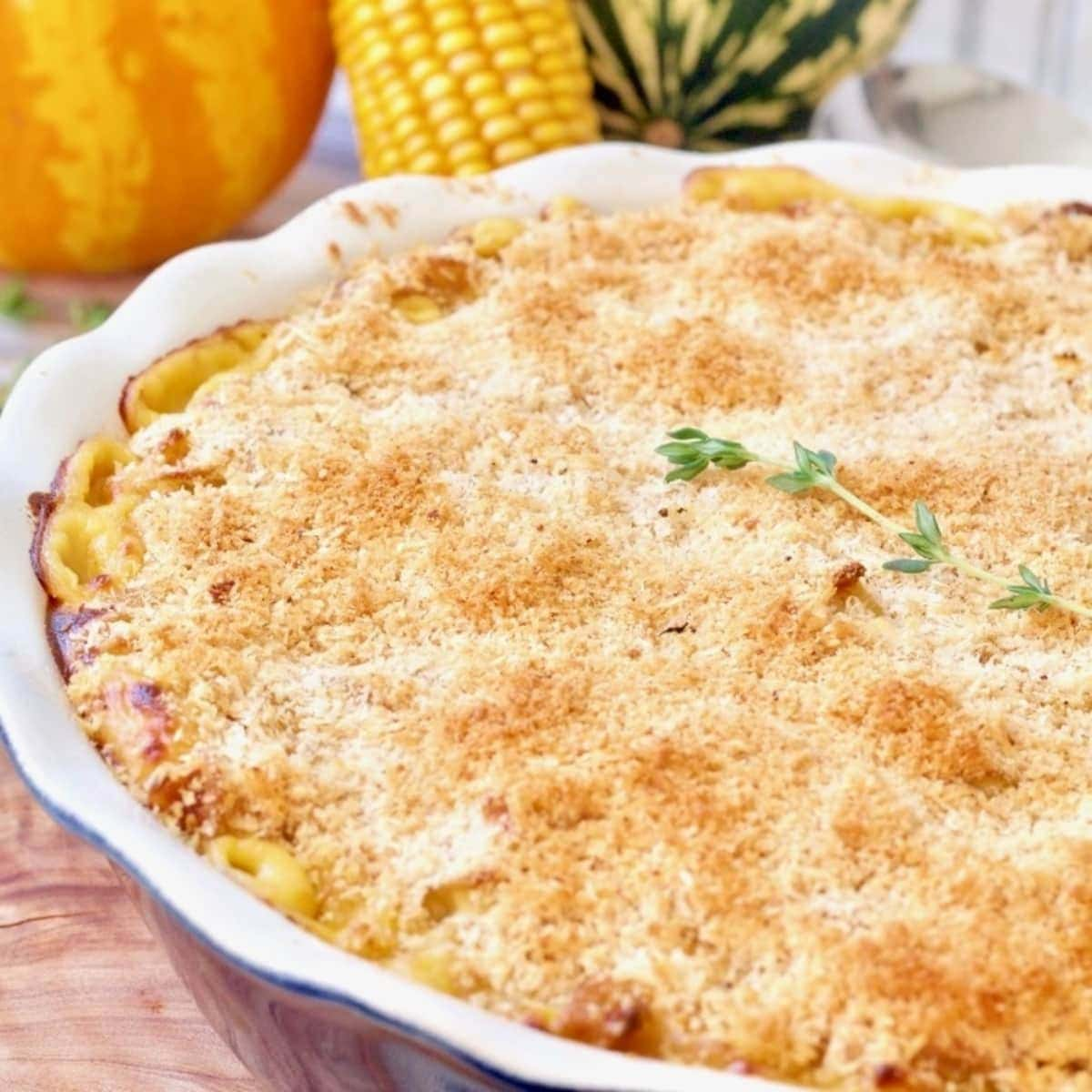 Mac and cheese baked in a dish.