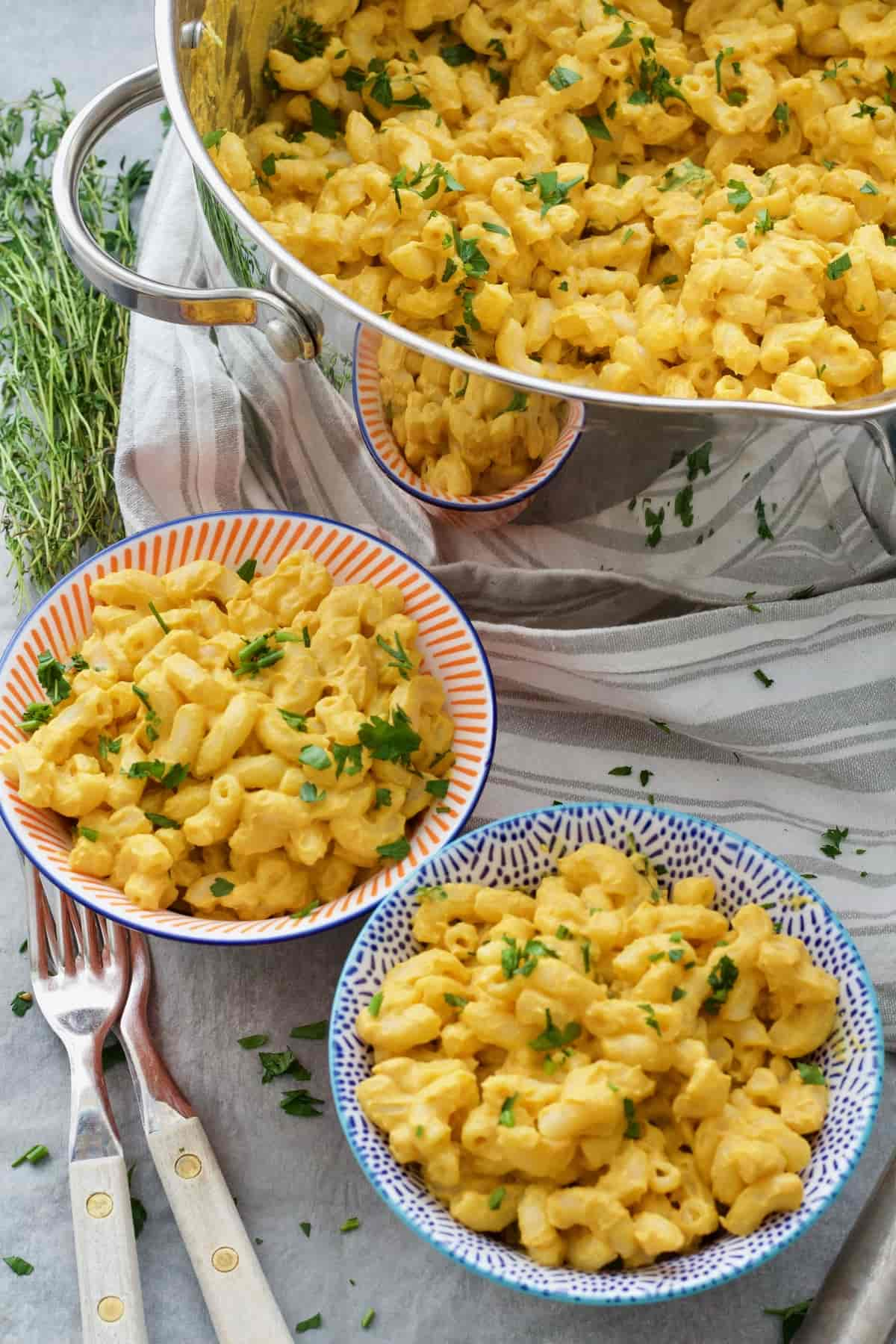 2 portions of vegan butternut squash mac and cheese.