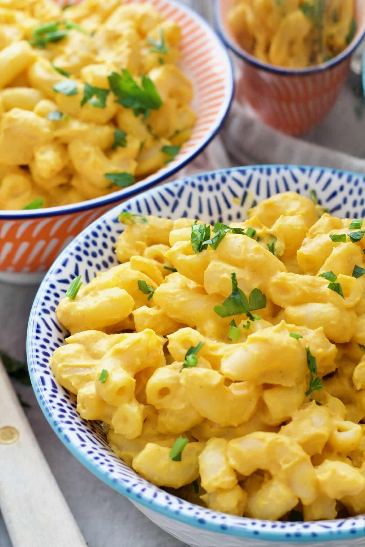 Close up of portion of butternut squash mac and cheese.