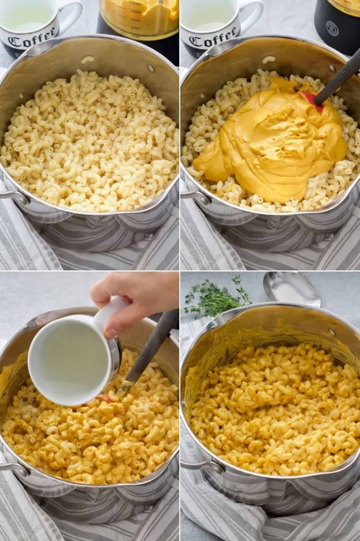 Process of mixing sauce with pasta.