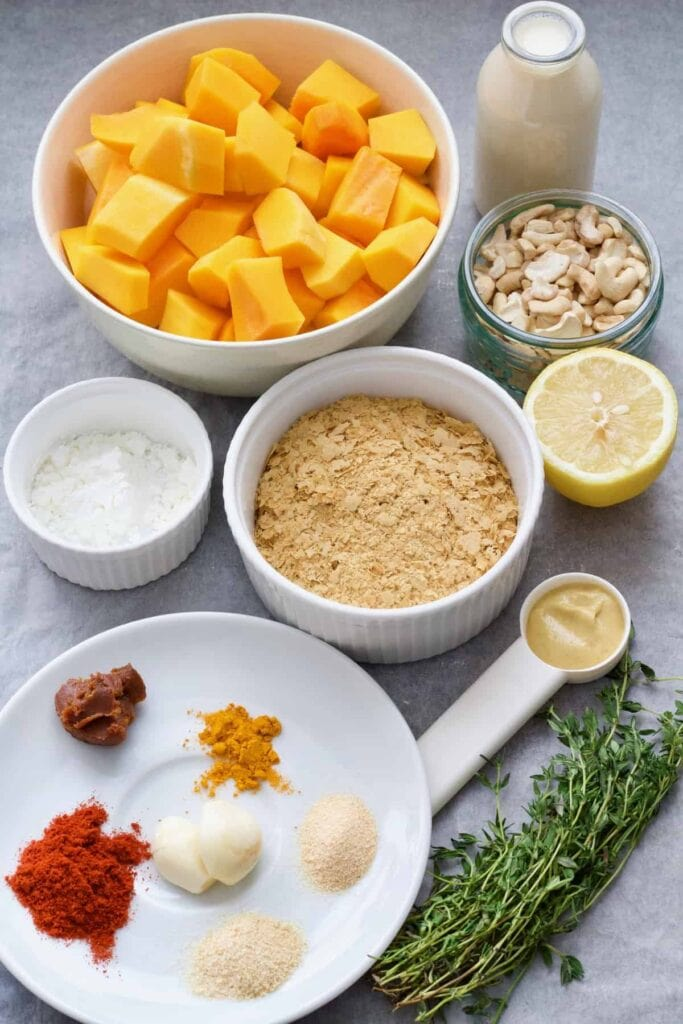 Ingredients for making butternut squash macaroni cheese.