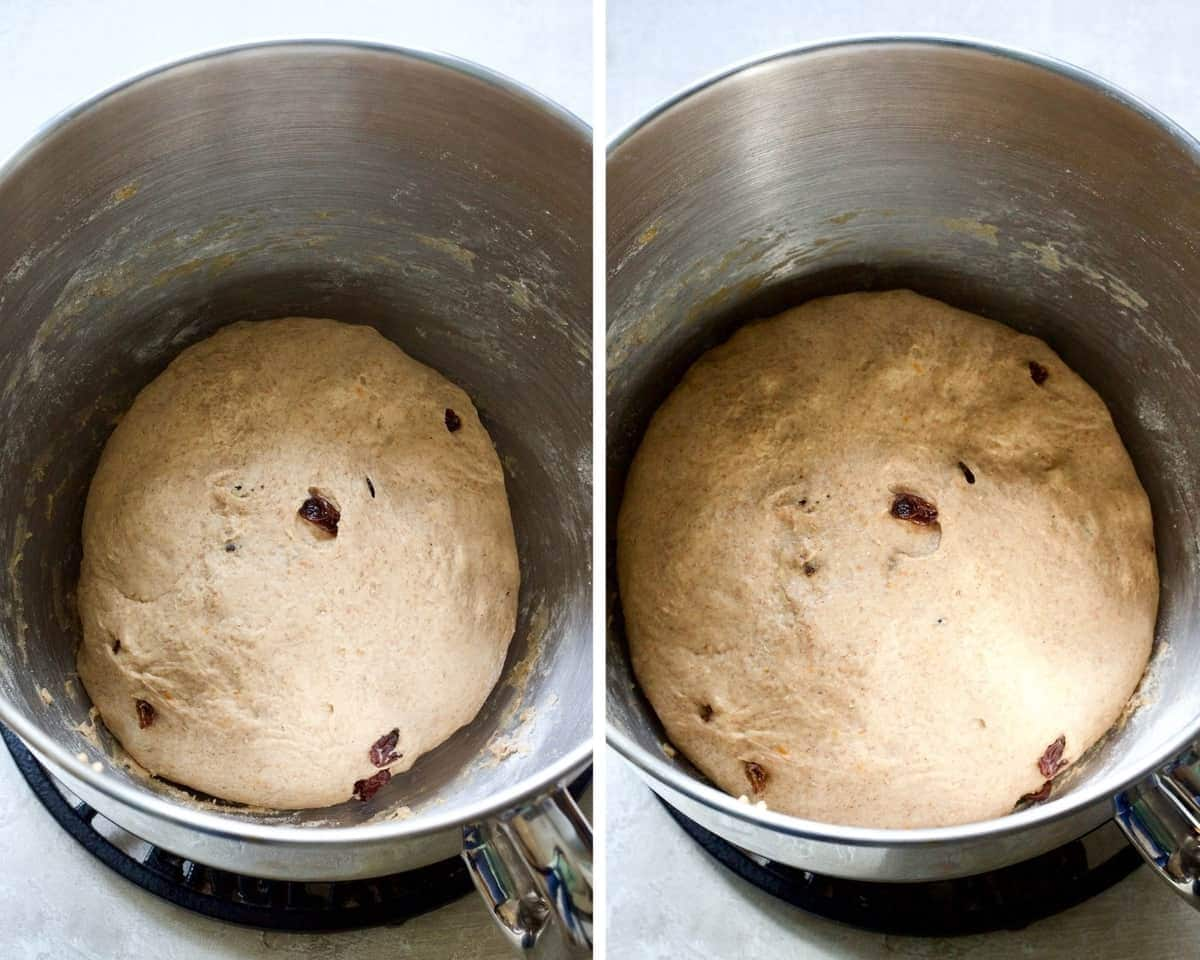 Dough in a bowl before and after proving.