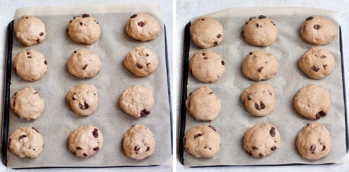 Buns on baking try pre and post proving.
