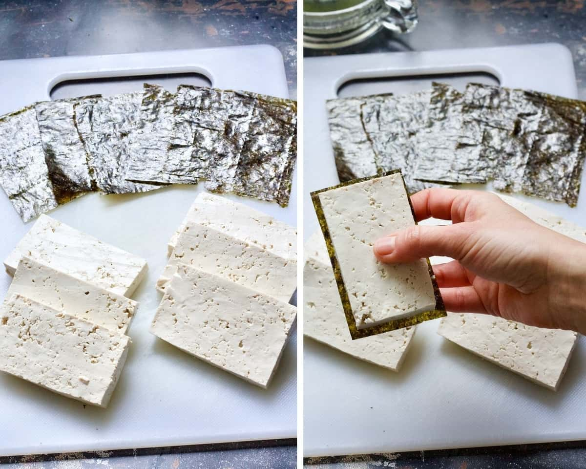 Lining tofu slices with nori sheets.