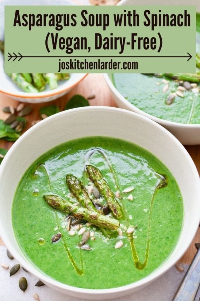 Bowl of asparagus soup, pin for Pinterest.