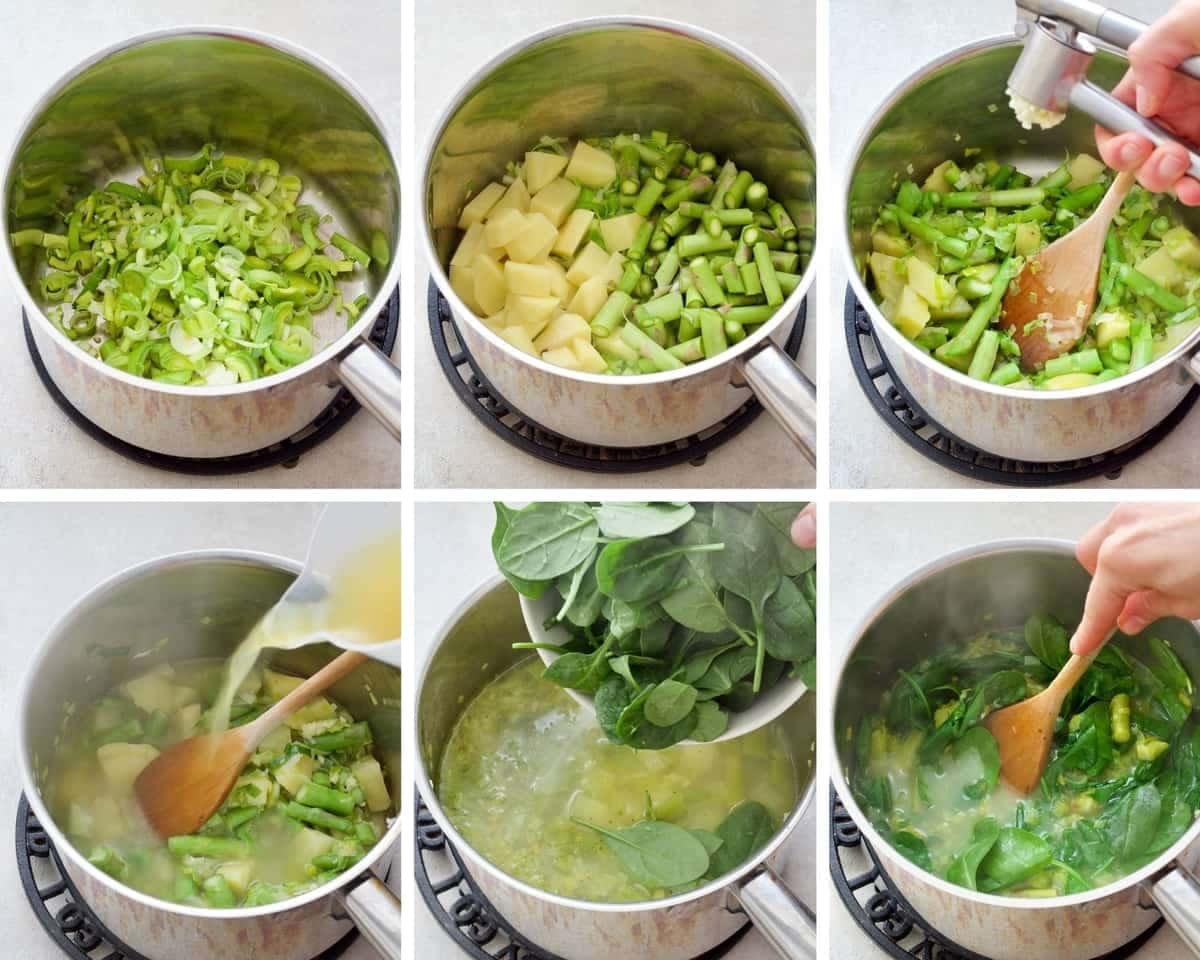 Process of making asparagus soup.