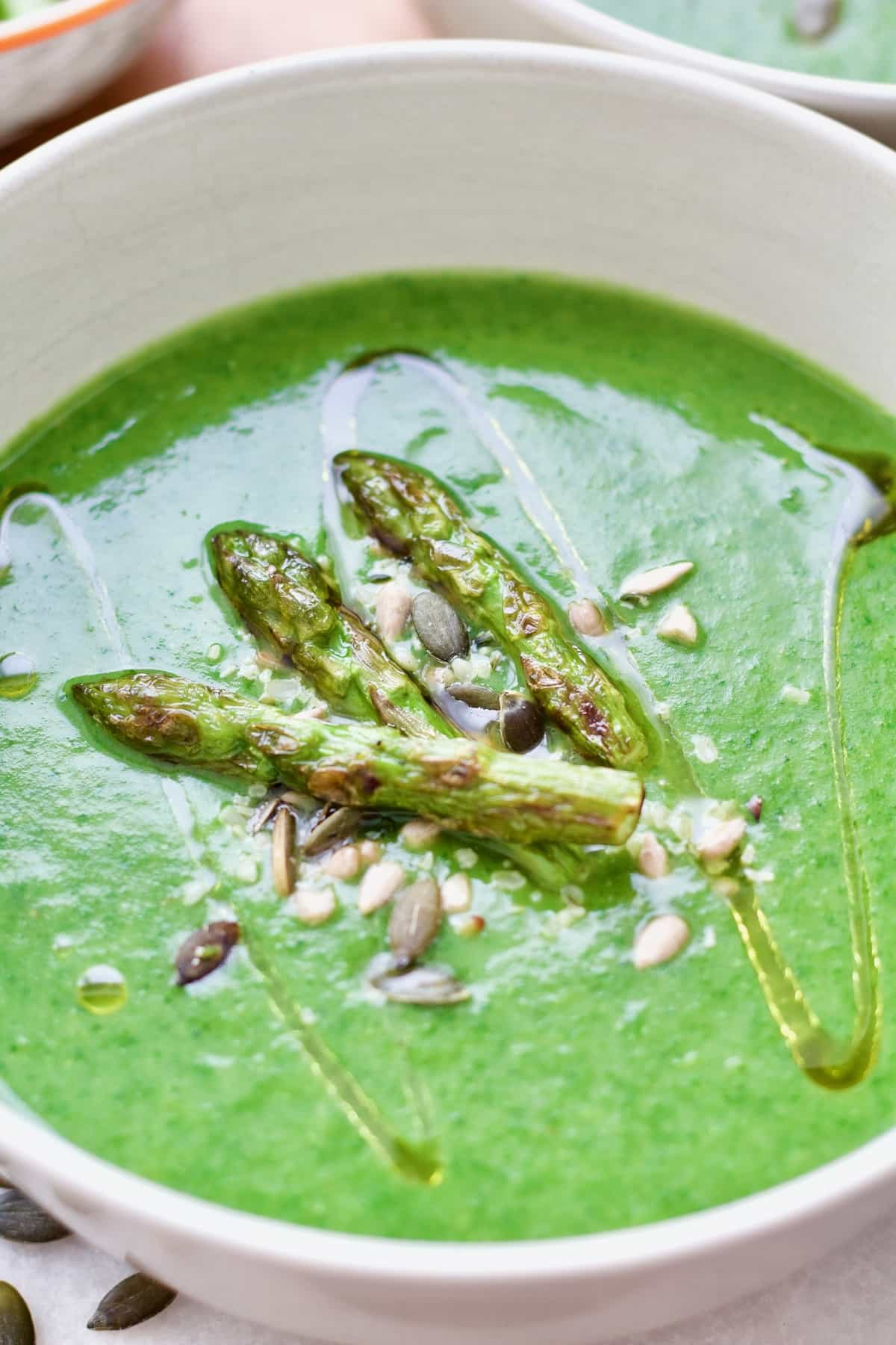 Close up of topping for asparagus soup.