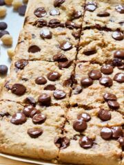 Vegan blondies with chocolate chips.