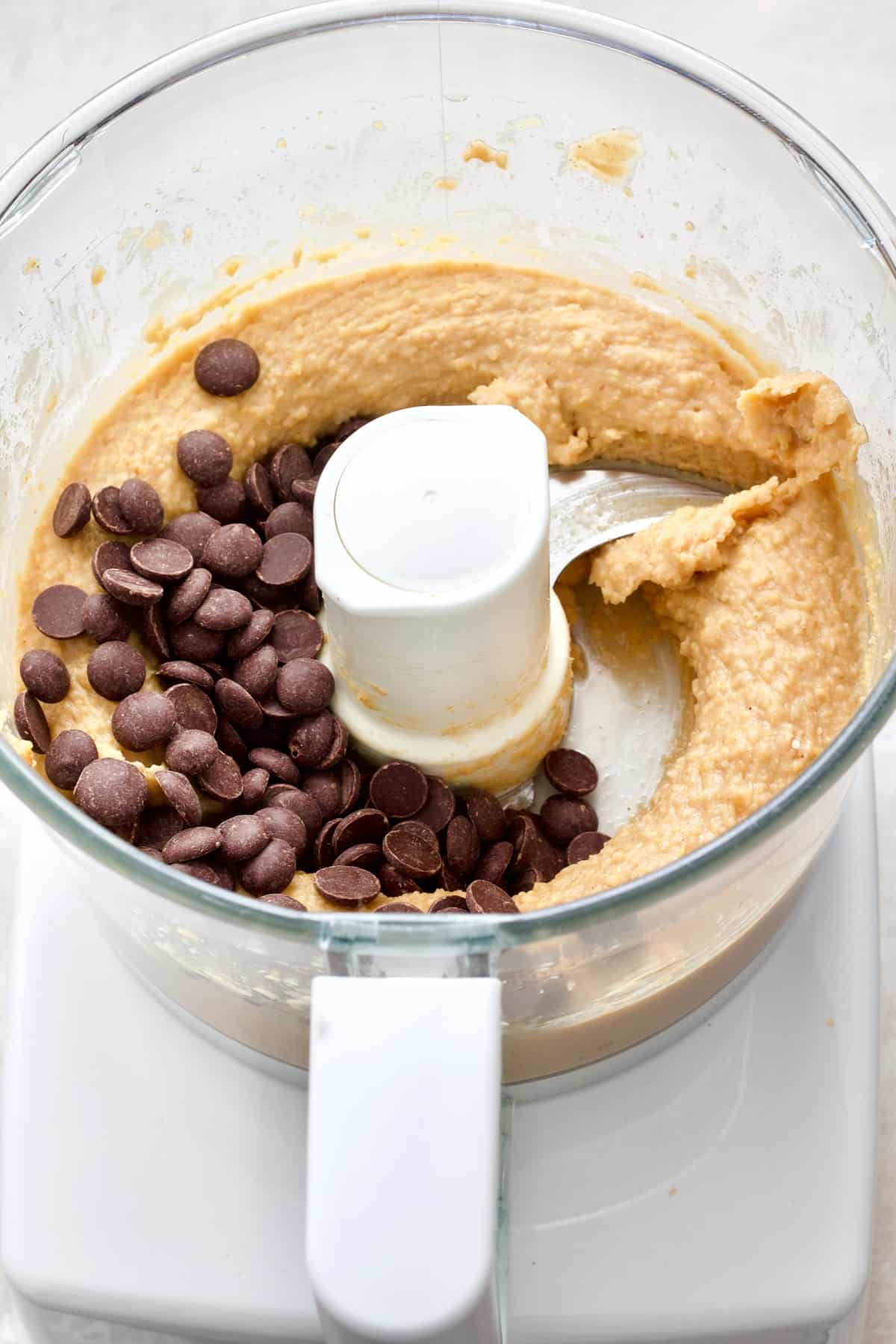 Chocolate chips added to blondie batter.