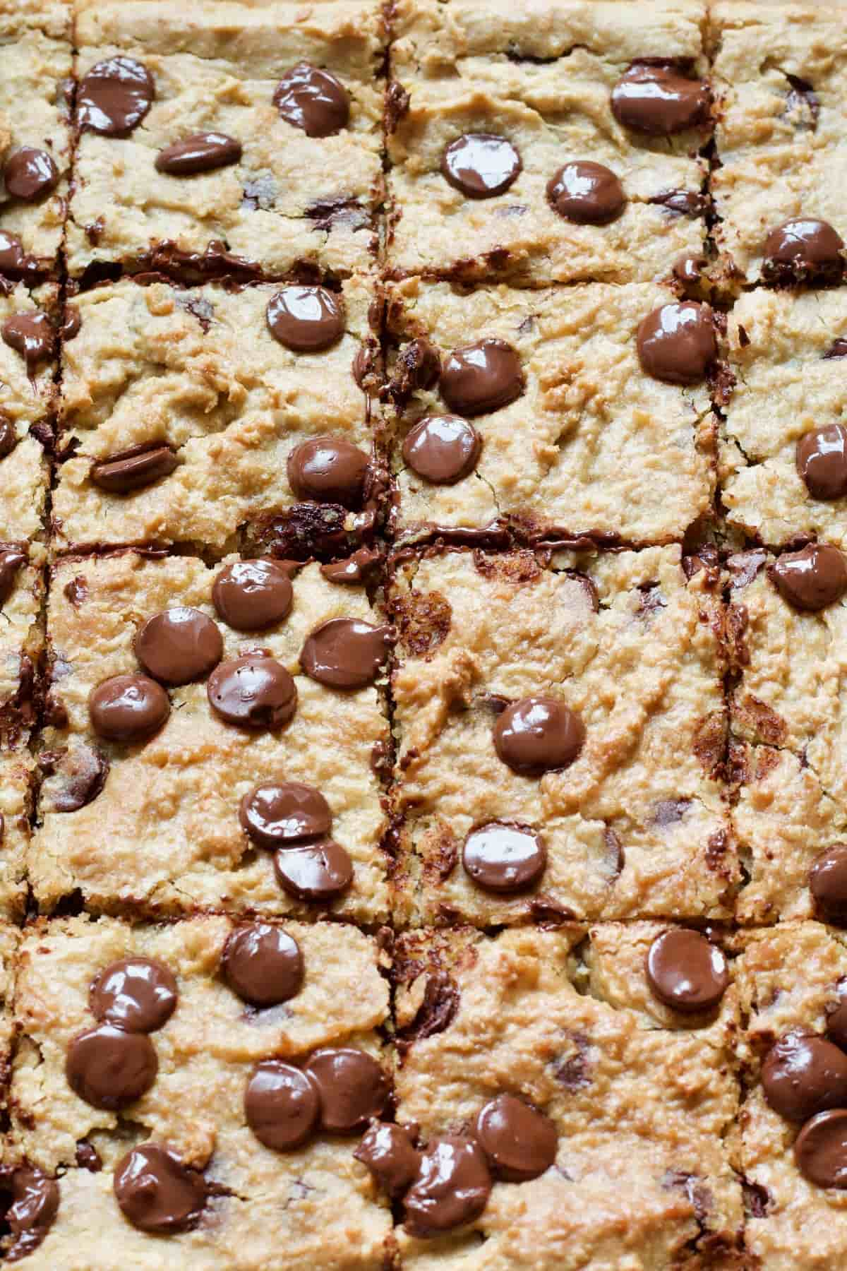 Close up of portioned chickpea blondies with chocolate chips.