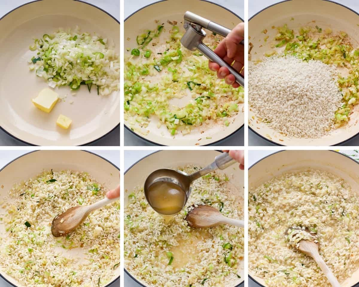 Step by step process of making risotto.