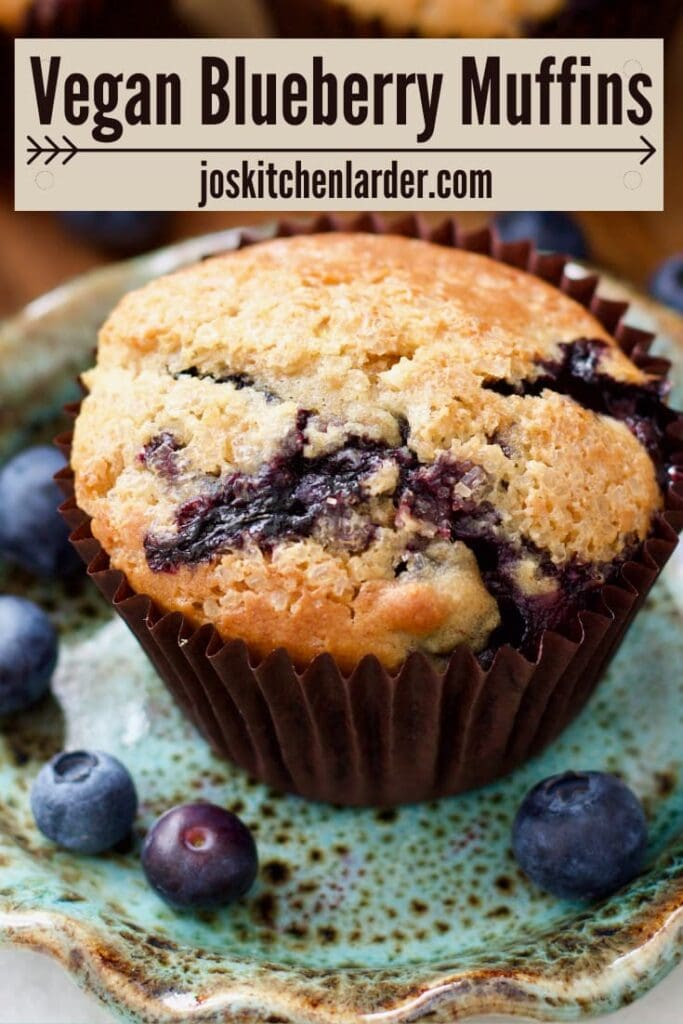 Vegan blueberry muffin on a plate, close up.