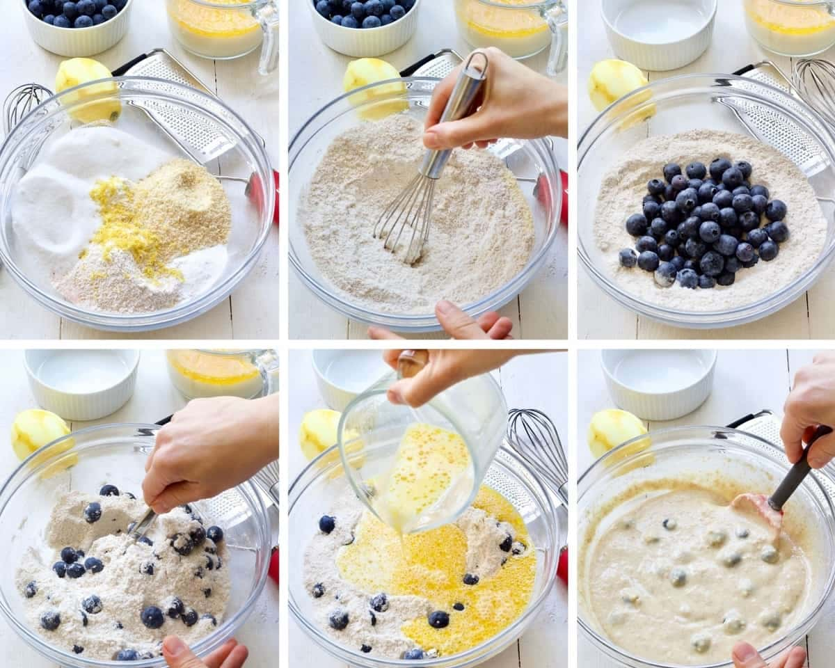Process of mixing batter for vegan blueberry muffins.