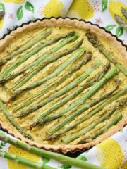 Baked vegan quiche with asparagus.