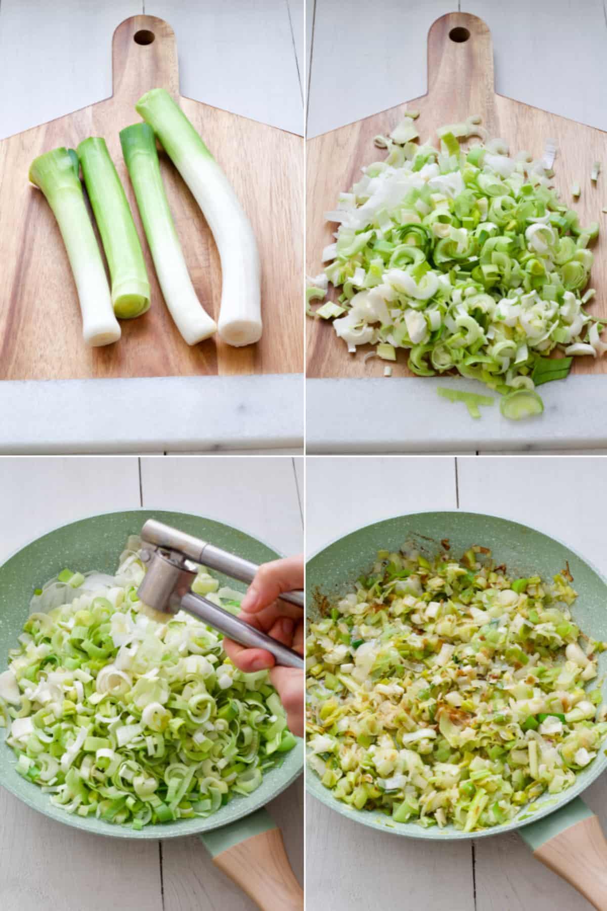 Preparing & frying leeks.