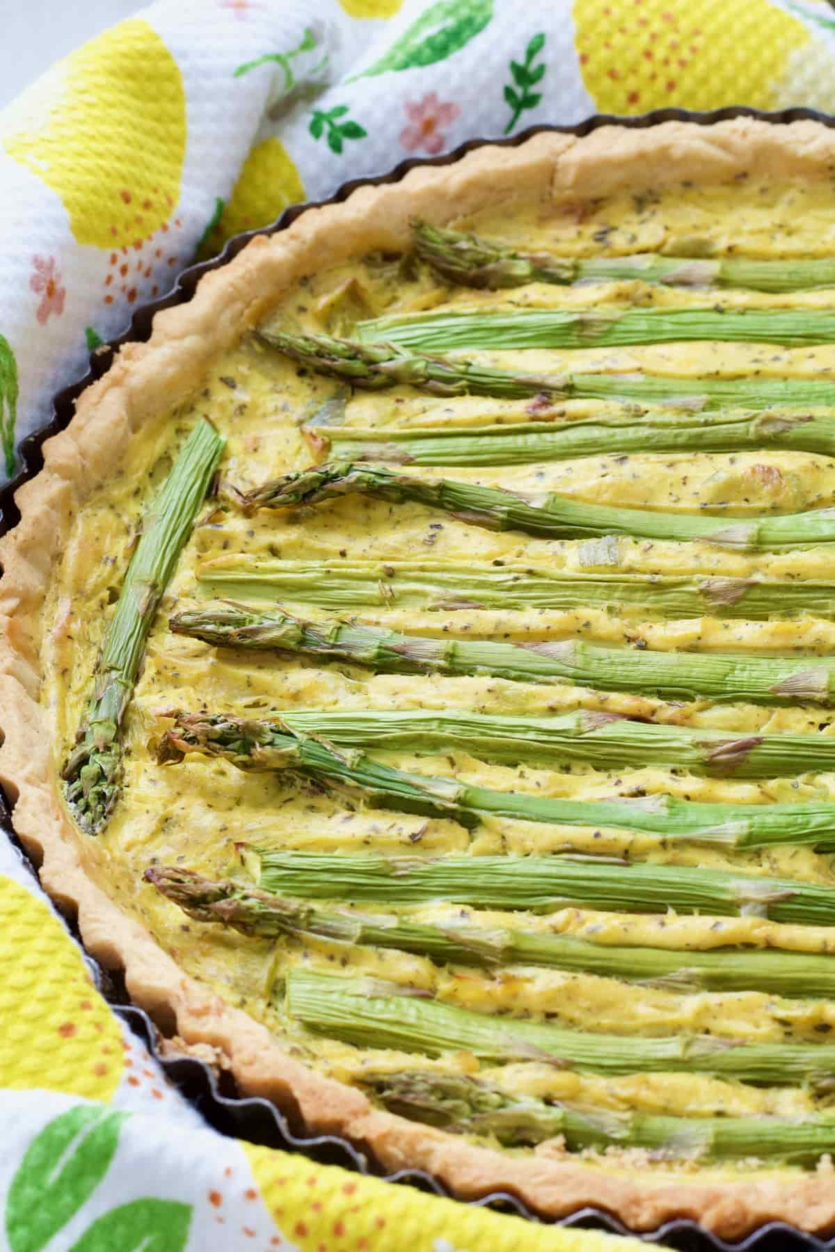 Close up of baked vegan quiche.