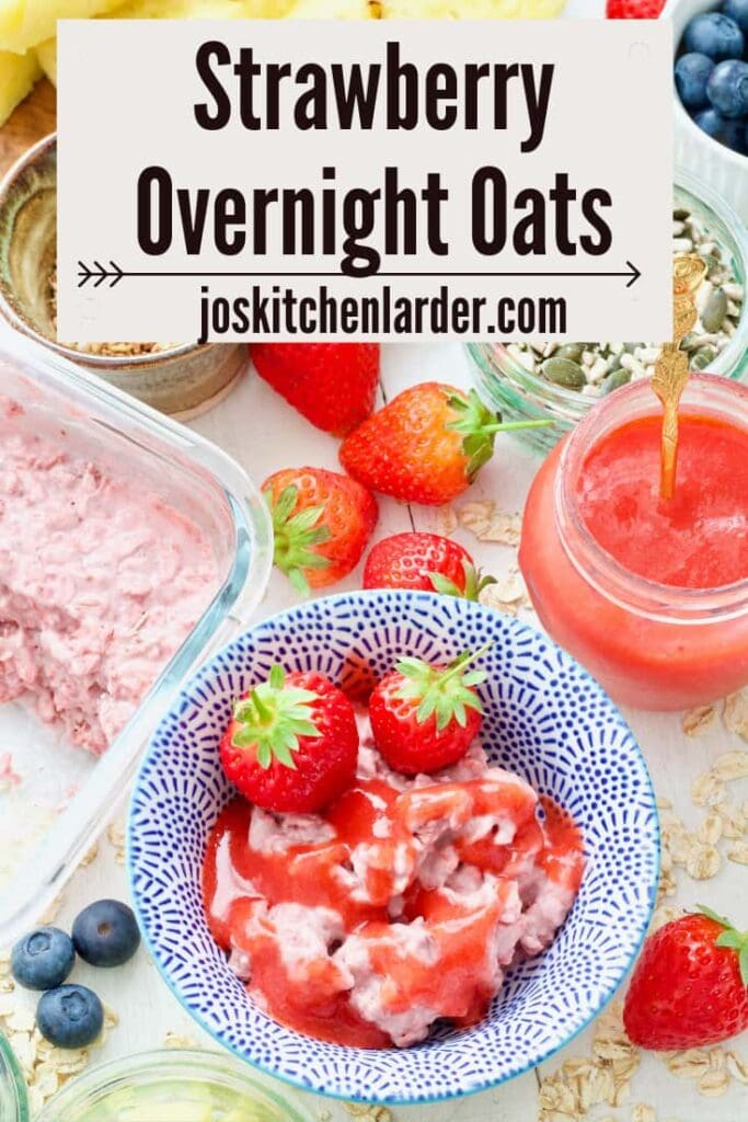 Strawberry overnight oats topped with coulis.