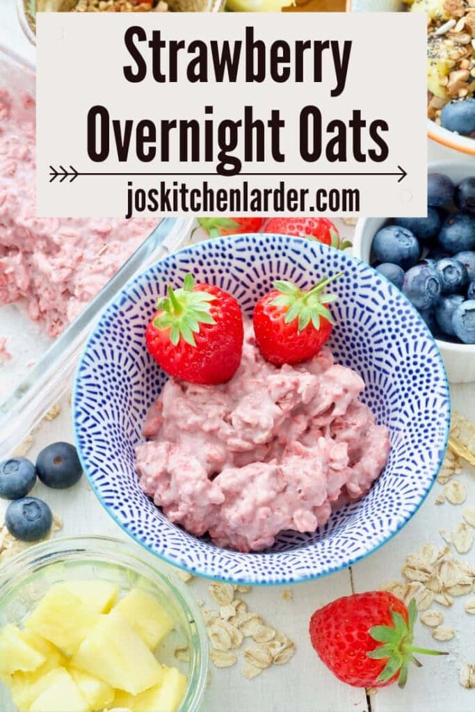 Plain strawberry overnight oats in a bowl.