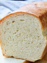Close up of cut white bread.
