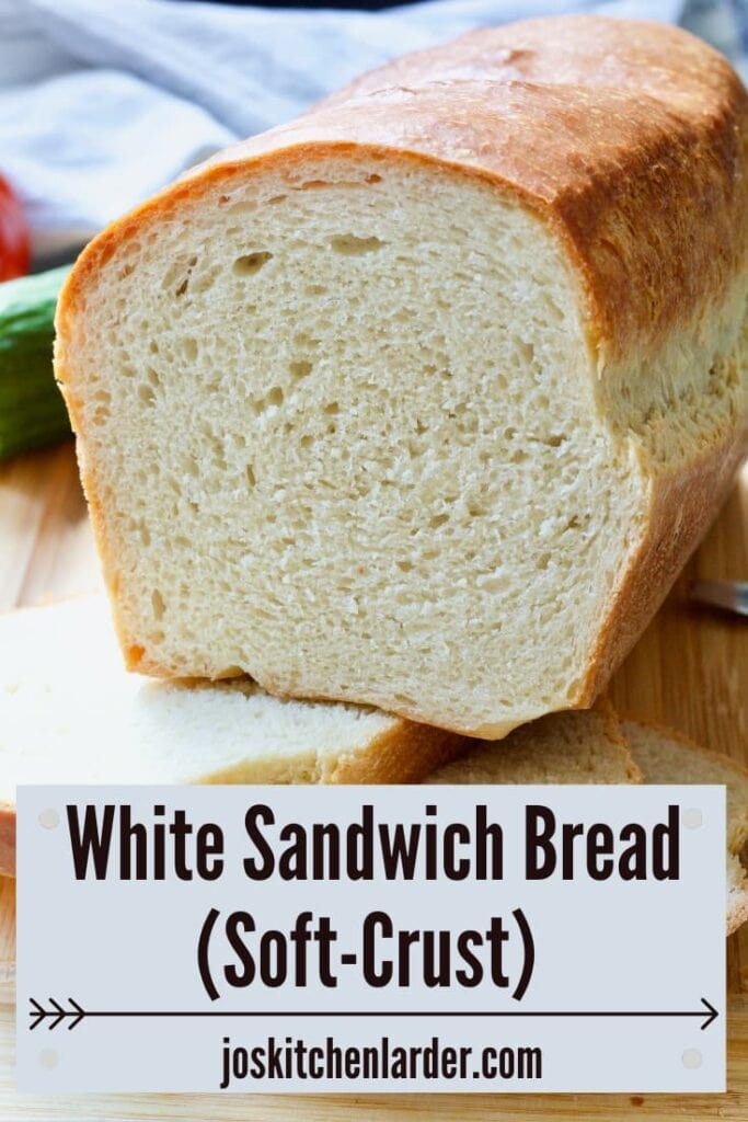 Cut slice loaf of white bread.