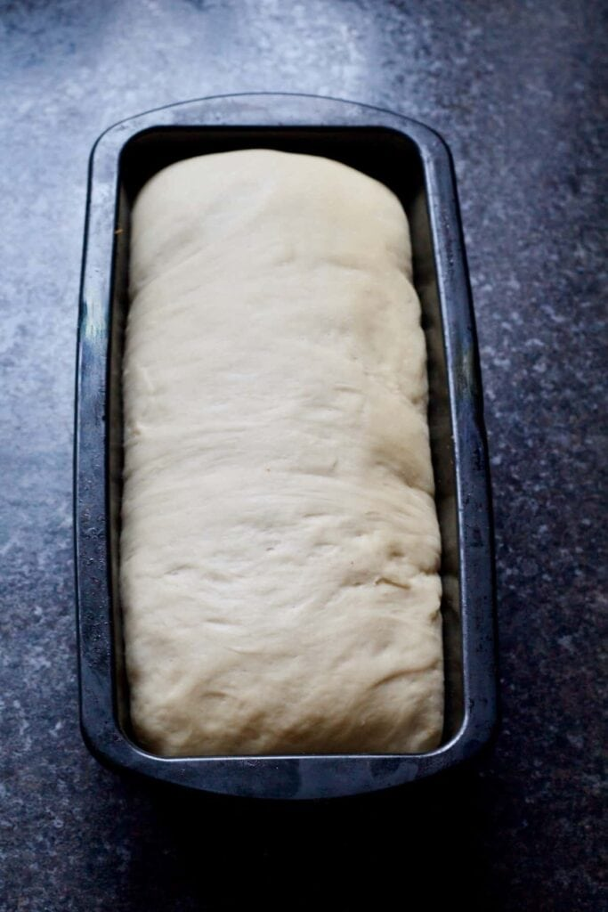 Bread dough in a tin after proving.