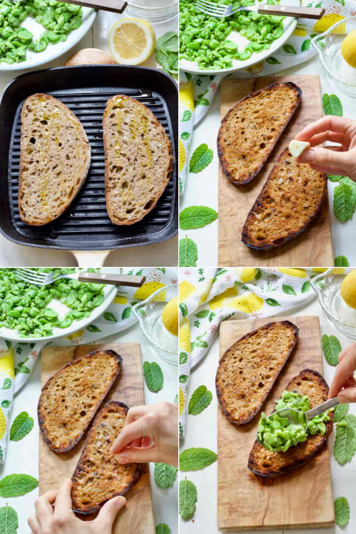 Preparing griddled sourdough toast for bruschetta.