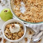 Crumble in a bowl & large serving dish.