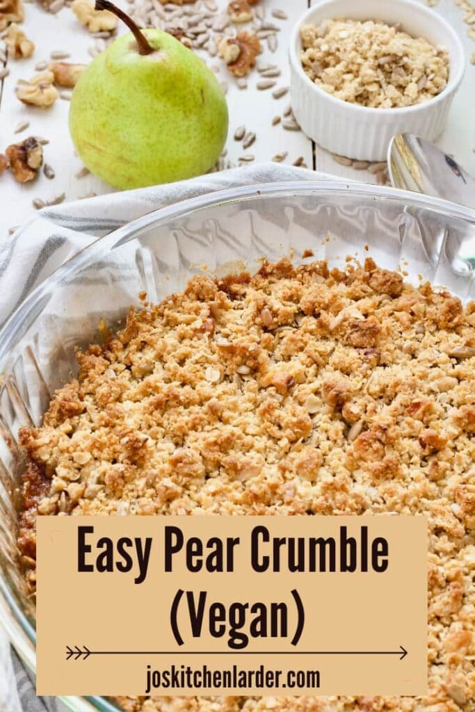 Pear crumble in a large pie dish.