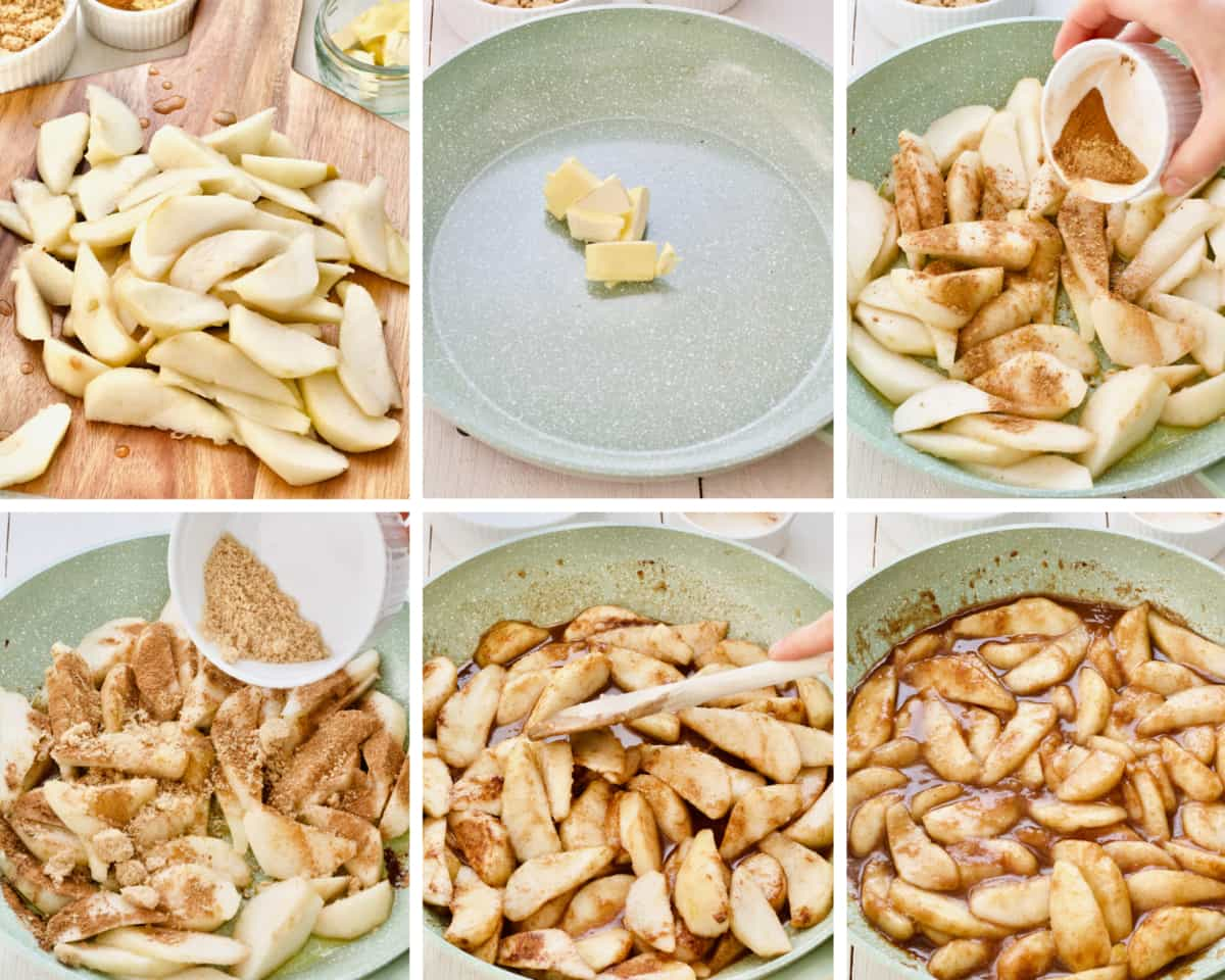 Process of stewing pears for crumble.