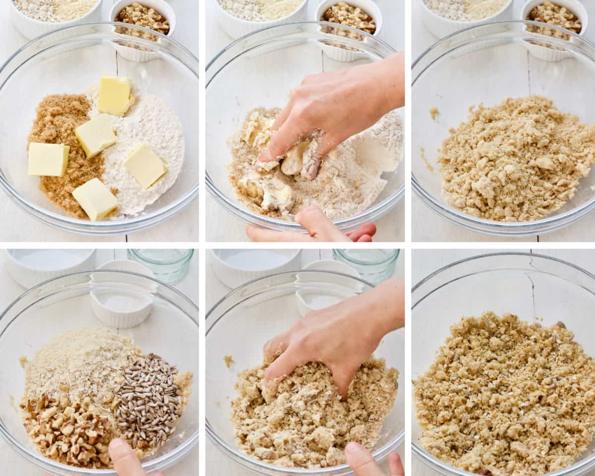 Process of preparing topping for crumble.