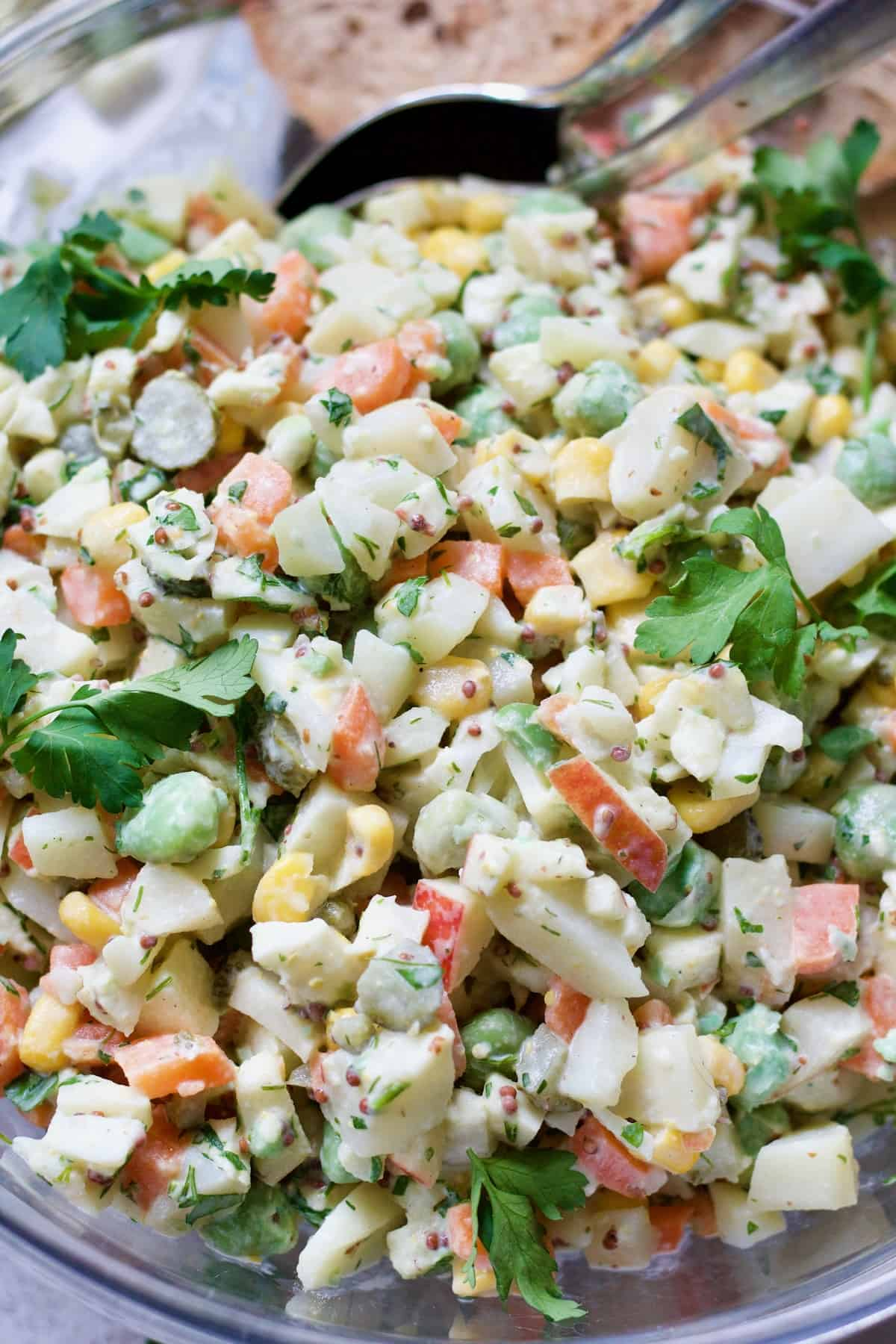 Close up of ready Olivier Salad.